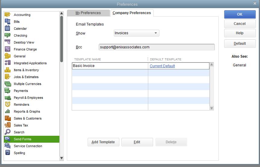 Sending Forms With QuickBooks Enix Associates - Quickbooks invoice email message