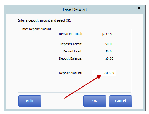 Taking a special order deposit
