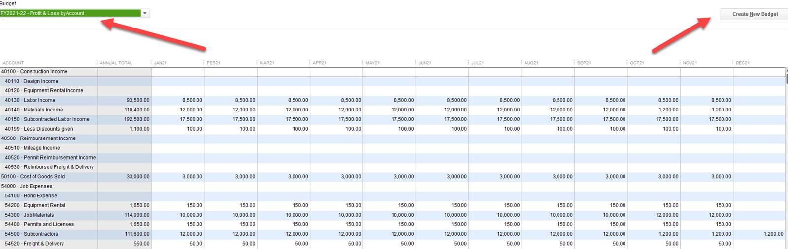 quickbooks planning budgeting enix associates